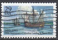 USA Briefmarke gestempelt 29c Kolumbus Entdecker Puerto Rico Schiff 1993 / 3275