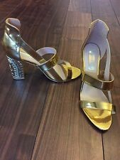 GOLD DETAILED EMBOSSED CHUNKY HEEL SANDAL SHOE EXCELLENT CONDITION SIZE 8