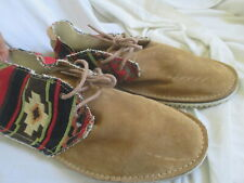 ZARA MAN IKAT PRINT TRIMS BROWN SUEDE ANKLE BOOTS, SIZE 42, 9M