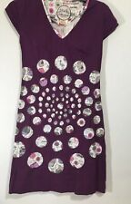 almatrichi dress Madrid Spain Size 36 Purple With Flamingos , Cats , Tea Cups