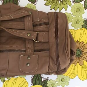 MINIATURE Duffle BAG Genuine LEATHER Brown Handmade PATCHWORK SQUISHY  Vintage