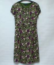 BODEN Bold Multi Col FLORAL Vintage Style Tea Dress Fully Lined UK 12
