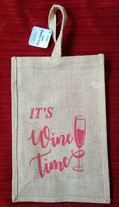 Natural Jute Printed Wine Tote Bag / 2 Large Bottles / Sturdy / Easy Carrier/NWT