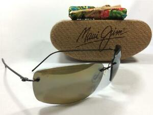 New Maui Jim Frigate Polarized Titanium Sunglasses 716-25A Dark Brown/HCL Bronze