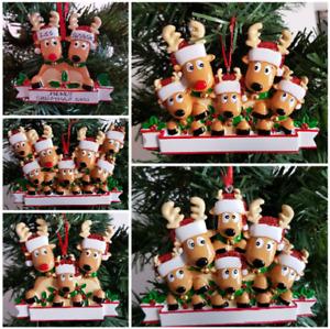 Personalised Christmas Tree Decoration Reindeer Moose Family 2 - 7 Xmas Ornament