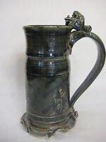 """Large Handcrafted Art Studio Pottery Beer Stein W/ Funny Face Handle, 9 3/4"""" T"""