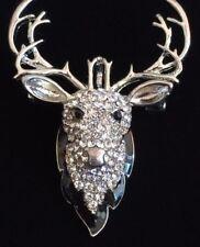 Clear Rhinestone Reindeer Antlers Deer Elk Buck Head Brooch Pin Pendant Jewelry