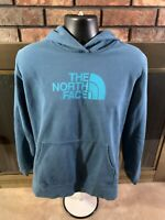 The North Face Spellout Logo Pullover Hoodie Hooded Sweatshirt Womens Sz XL Blue