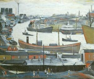 Mounted Print. River Wear at Sunderland.  1961  L S Lowry
