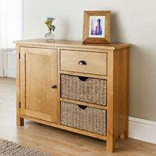 SB19 New Rustic Crafted Wiltshire Oak Sideboard With two Seagrass Storage Basket