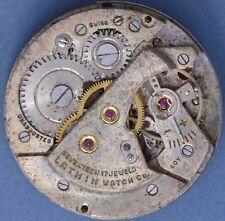 Lathin AS 1194 50s Vtg 17j Movement Radium Dial Good Balance Staff Parts/Repairs