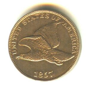 1857 Flying Eagle Cent Cent MS. Excellent Strike Check Variety
