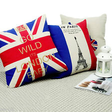 "Union Jack / Eiffel Tower / Guitar Cushion Covers 17"" x 17'' Linen Blend"