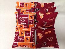 VIRGINIA TECH 8 CORNHOLE BAGS BEAN TOSS BAGO  Print 2 Sides Burg/Block