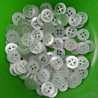 25 white shirt buttons 4 holes  9mm 10mm 12mm & 14mm