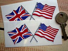 "USA Stars & Stripes & UK Union Jack Flag Car STICKERS 4"" Pair Bike Truck Trailer"