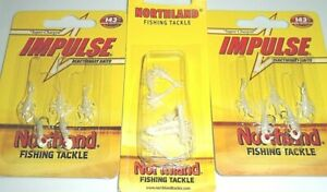 Northland Tackle Impulse Rigged Mayfly Jigs & Tails (Lot of 3-Glo White)