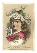 Old Trade Card Milkman & Co Millinery Hair Goods Providence RI Girl Daisy Hat