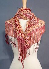 Silk Crepe Scarf Sarong Resort Wear Dress eye dazzler red yellow white fringes