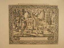 Planche gravure Religion Moyen age Salomon édifie le temple Jérusalem Par Hoyau