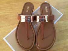 MICHAEL KORS  Brown Genuine  Leather Thong Flip Flop  Sandals size 9,5/40,5