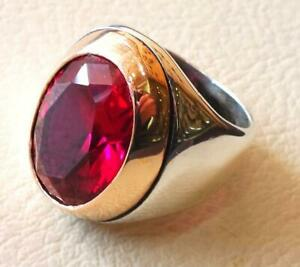 Men's 925 Sterling Silver Oval Ruby Ring Handmade Christmas Gift Jewelry
