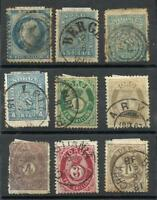 NORWAY LOT 9 DIFFERENT STAMPS YV. 4; 8 X 2 ; 14; 16; 18/9; 21/2 USED, NICE