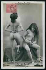 French nude woman chastity belt slave girls original early 1900s photo postcard
