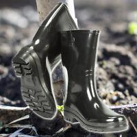 High-Quality Black Mid Calf Wellington Boots Waterproof PVC Wellies Gardening