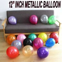 "12"" Metallic Pearlised Helium Quality Latex Party Balloons wedding decoration UK"