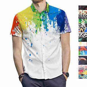 Men Hawaiian Shirt Button Down Casual Aloha Shirt Short Sleeve Beach Party Youth