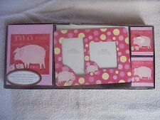 Pig Baby Stationery Gift Set Magnetic Photo Frame Polka Dots Note Cards Gift New