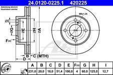 2x Bremsscheibe für Bremsanlage Vorderachse ATE 24.0120-0225.1
