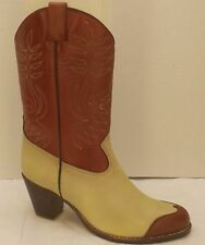size 9 B vtg 80s red & tan SASSON wing-tip high heel fashion cowboy boots NOS