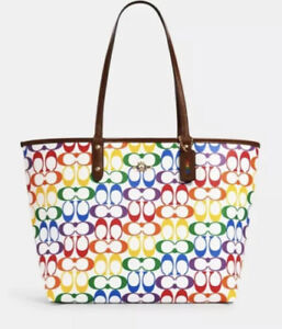 Coach PRIDE City Tote Signature Canvas Rainbow Bag Reversible Handbag NWT