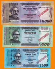 ALL (SEVEN) SPECIMEN NOTES BANGLADESH-1000, 500, 100, 50, 20, 5, 2 TAKA-UNC-