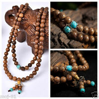 6mm Sandalwood Buddhist Buddha Meditation 108 Prayer Bead Mala Necklace Bracelet
