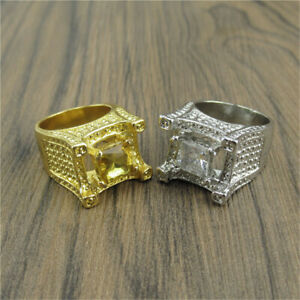 Charm 18K Plated Hip Hop Simulated Lab Diamond MICROPAVE Mens Bling Ring Gold UK