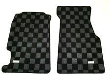 P2M for Honda Civic Del Sol Race Front Floor Carpet Mats Drift Checker Dark Grey