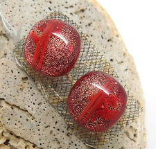 Beautiful Fused Glass Stud Earrings with Red Shimmer Tones, Jan Art Jewelry.