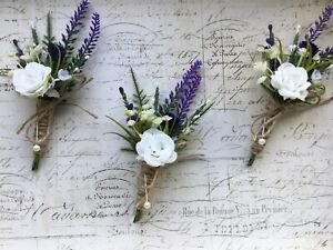 Scottish Thistle White Rose Buttonhole/Corsage Rustic Hessian Wedding Flowers X1