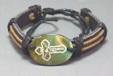 Christian Cuff Bracelet Etched Cross Facing - Leather Band GREEN Gift! LOW STOCK