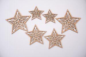 Christmas Decor Wooden MDF Blank shape - Ornamental Stars Mix - 6 items set