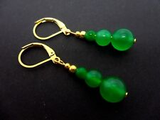 A PAIR OF GREEN JADE BEAD GOLD PLATED DANGLY LEVERBACK HOOK EARRINGS. NEW.
