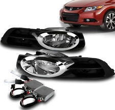 HONDA CIVIC 2012-2013 2DR COUPE BUMPER FOG LIGHT CHROME+HARNESS W/50W 6K HID KIT