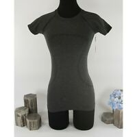 Lululemon Charcoal Swiftly Speed Shine Athletica Short Sleeve Top Sz 2 NWT
