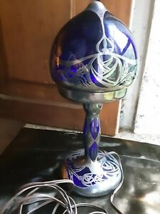 STUNNING ANTIQUE FRENCH ART NOUVEAU COBALT BLUE GLASS TABLE LAMP STAMPED SILVER