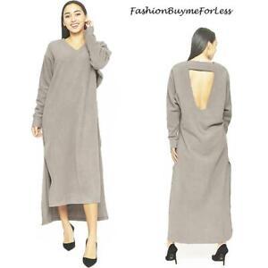 70S Hippie Haute BOHO Keyhole Back Gray FLEECE Long Maxi Sweater Dress S M L XL