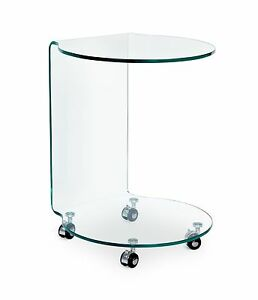 Small Table 2112 IN Glass with Wheels CMS 45X45