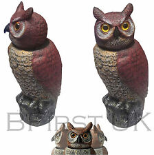 Owl Statue Decoy Deterrent Outdoor Garden Wind Activated Pet Bird Repeller 360°